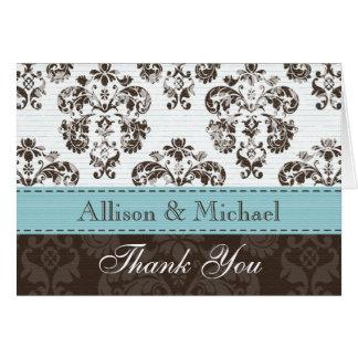 Cartão Azul e obrigado do casamento tema damasco de Brown