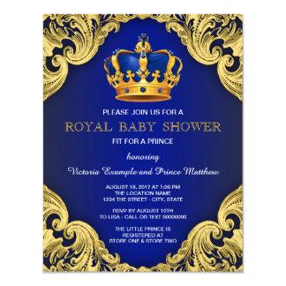 Cartão Azul e ouro extravagantes do príncipe chá de