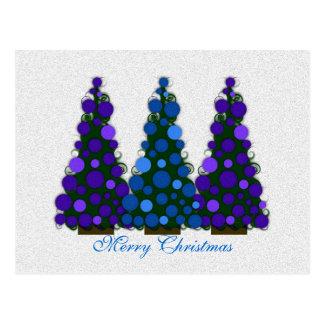 Cartão azul e roxo da árvore do Feliz Natal