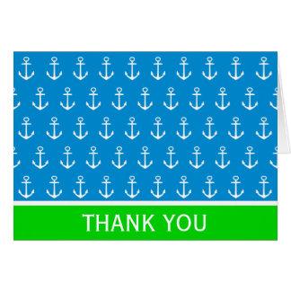 Cartão Azul e verde náuticos com âncoras brancas