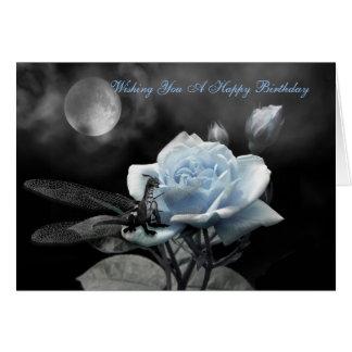 Cartão azul enchanted das noites, desejando lhe um Birt