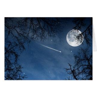 Cartão azul escuro do céu da lua da estrela de