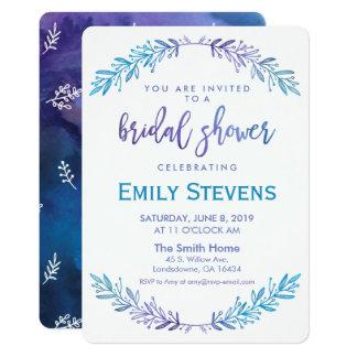 Cartão Azul floral da aguarela & roxo nupciais