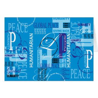 Cartão azul humanitário dos grafites
