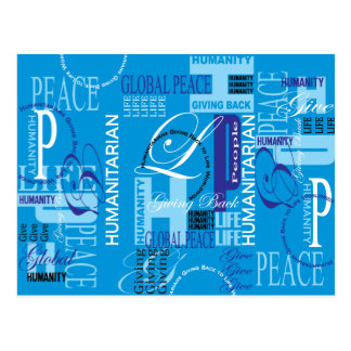 Cartão azul humanitário dos grafites cartão postal