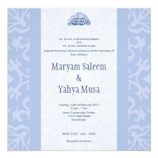Cartão azul islâmico do convite do casamento do bi