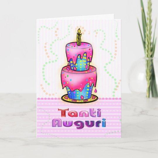 Cartão Azul italiano do rosa do bolo do feliz aniversario  b420dc0b82a3c
