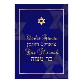 Cartão Azul/ouro clássicos do bar Mitzvah/diy de