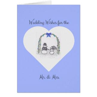 Cartão azul pálido vazio do casamento no inverno