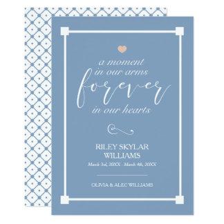 Cartão Azul para sempre em nosso memorial do bebê dos