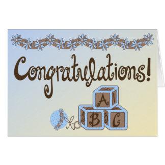 Cartão Azul & parabéns do bebé dos brinquedos de Brown