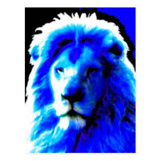 Cartão azul principal do leão