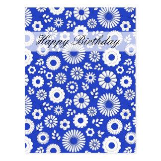 Cartão azul profundo floral do feliz aniversario