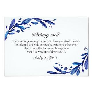 Cartão Azul que deseja bem. Casamento no inverno.