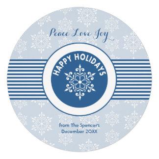 Cartão azul redondo do feriado do floco de neve convites