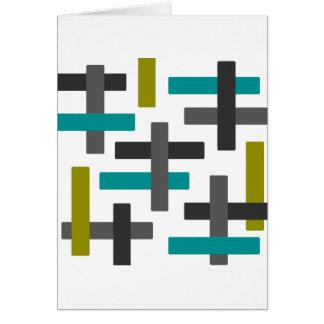 Cartão Azul retro, verde, abstrato do cinza