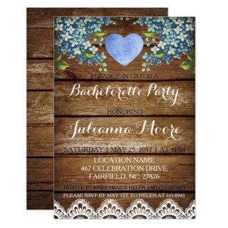 Cartão azul rústico do Hydrangea/festa de solteira