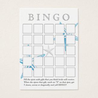 Cartão azul simples do Bingo do chá de panela da