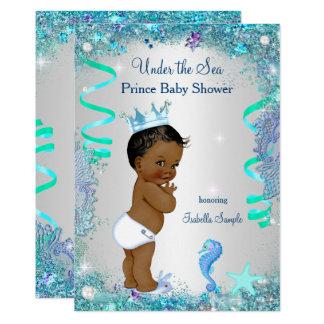 Cartão Azul sob o príncipe chá de fraldas do mar étnico