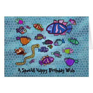 Cartão azul subaquático do feliz aniversario do