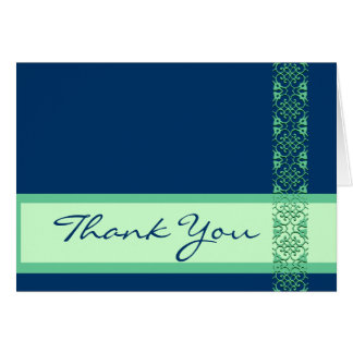 Cartão AZUL & VERDE com o obrigado do casamento do laço