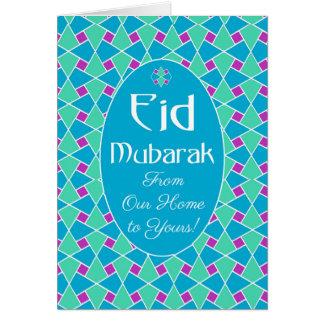 Cartão azul, verde, roxo de Eid, teste padrão Cartão Comemorativo