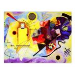 Cartão azul vermelho amarelo de Kandinsky Cartoes Postais