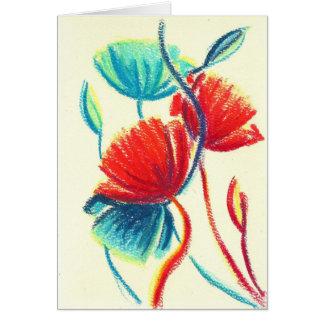 Cartão azul vermelho das papoilas