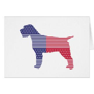 Cartão Azul vermelho do cão patriótico apontar Griffon