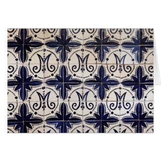 Cartão Azulejo do português do vintage