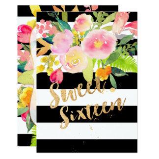 Cartão B+Listras de W, doce 16, flor do primavera da