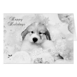 Cartão B/W do feriado do filhote de cachorro da