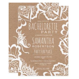 Cartão Bachelorette rústico de kraft da mandala floral de