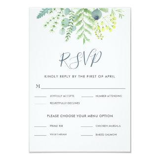 Cartão Baga RSVP Wedding floral do eucalipto da queda