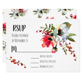 Cartão Bagas florais RSVP do inverno da aguarela