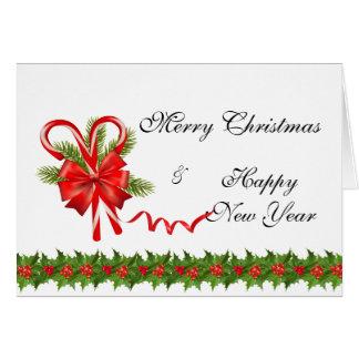 Cartão Bagas Natal do azevinho e bastões de doces