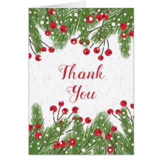 Cartão Bagas vermelhas, pinho, obrigado do Natal da neve