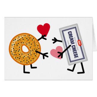 Cartão Bagel & queijo creme - corações bonitos do amor