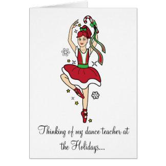 Cartão Bailarina do professor da dança dos feriados com