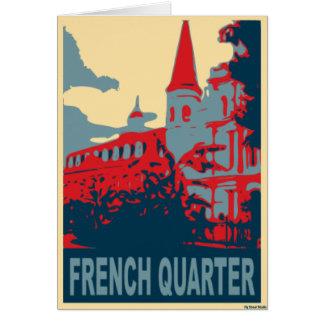 Cartão Bairro francês em azul e em vermelho