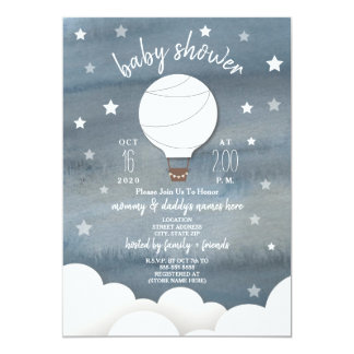 Cartão Balão de ar quente branco + Chá de fraldas do