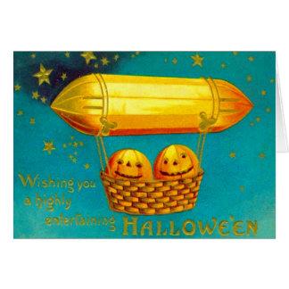 Cartão Balão de ar quente da abóbora da lanterna de Jack