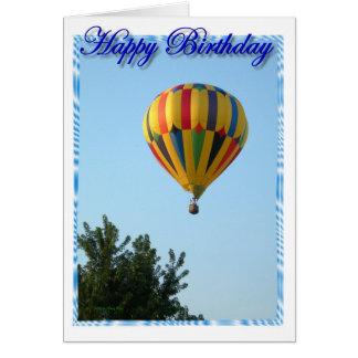 Cartão Balão de ar quente do aniversário