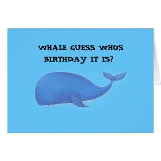 Cartão baleia, ANIVERSÁRIO da SUPOSIÇÃO WHOS da BALEIA É?