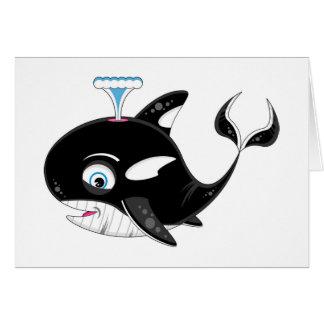 Cartão Baleia de assassino bonito dos desenhos animados