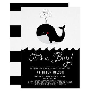 Cartão Baleia preta & branca do bebê é um chá de fraldas