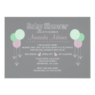Cartão Balloons baby shower invitation