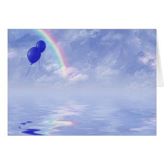 Cartão balões e arco-íris