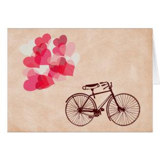 Cartão Balões e bicicleta Coração-Dados forma