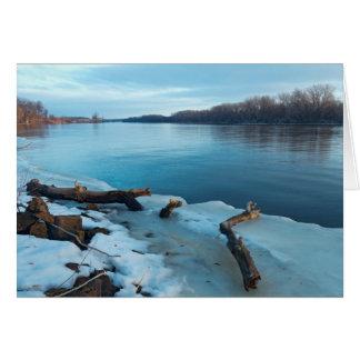 Cartão Bancos gelados do rio Mississípi na aurora